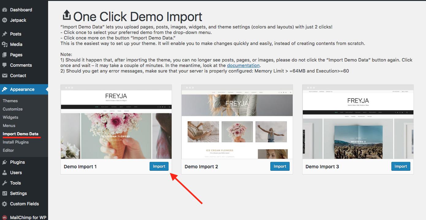 Import demo content « Freyja Documentation